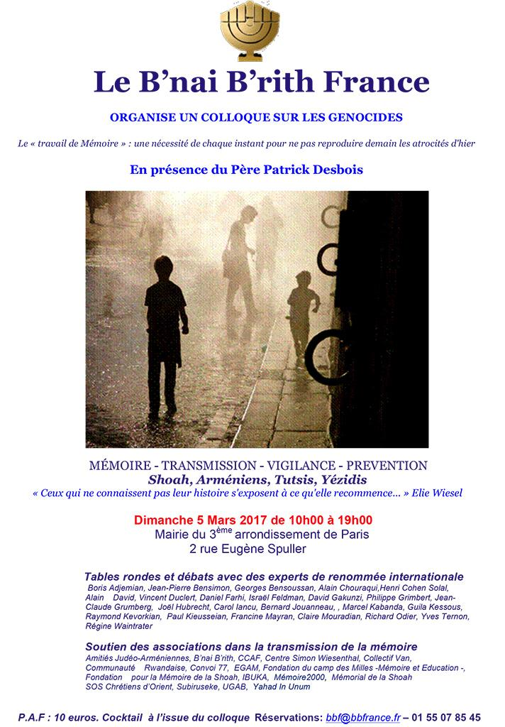 PARIS. Colloque sur les génocides du Bnai Brith France